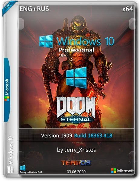 Windows 10 Pro 1909 Doom Ethernal by Jerry_Xristos (x64) (2020) =Eng/Rus=