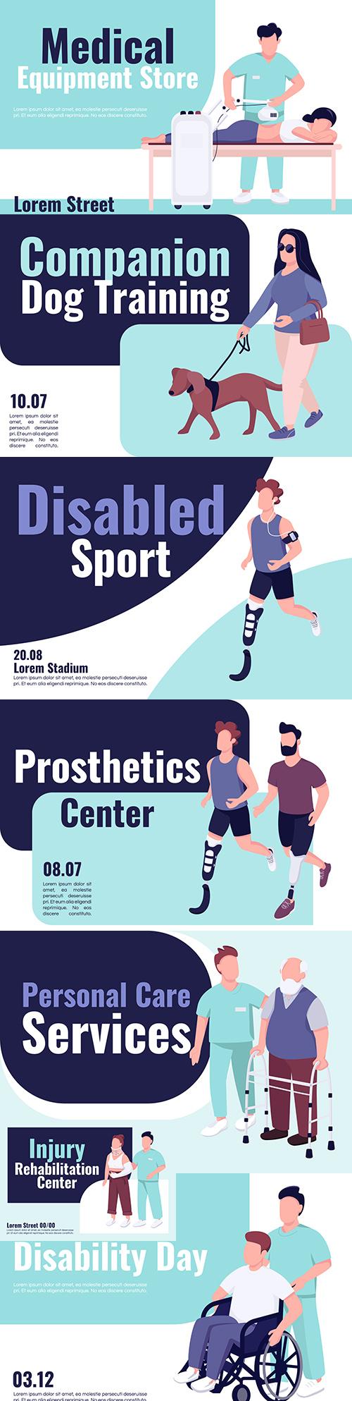 Rehabilitation center for disabled banner flat design template