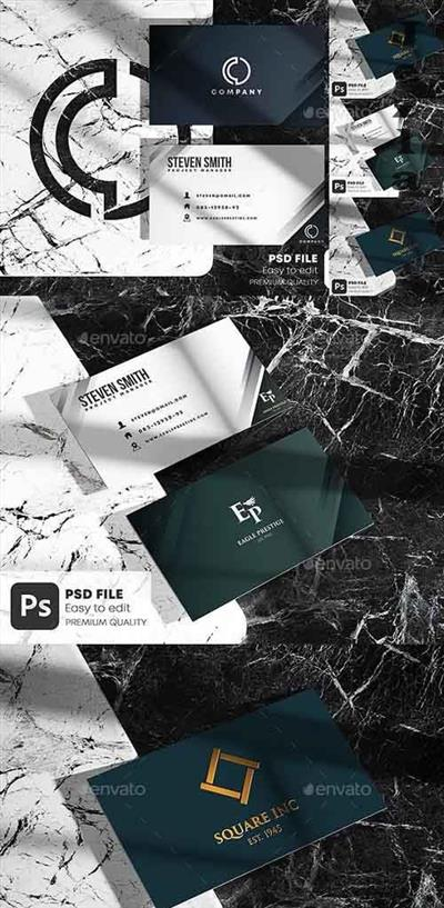 BUSINESS CARD ON MARBLE STONE MOCKUP SET 28404056