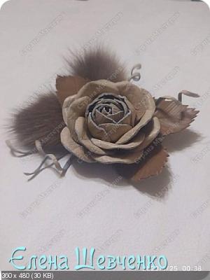 Заколка Роза из кожи 903240966f3f008e9e882a6b0b3254cb